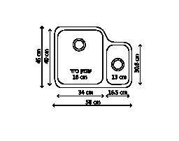 כיור נירוסטה כפול AMX160 שרטוט
