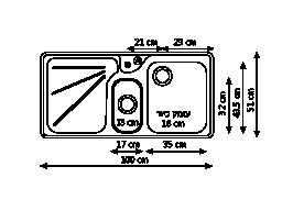 כיור נירוסטה כפול ARX654 שרטוט
