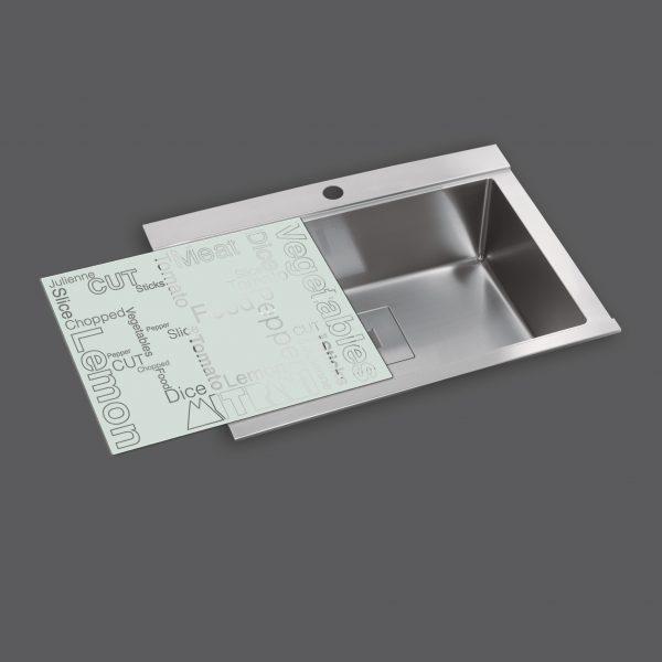כיור נירוסטה AS-SB630 משטח זכוכית