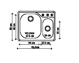 כיור נירוסטה כפול CNX660 שרטוט