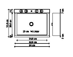 כיור סיליגרניט Centerpiece 64 שרטוט