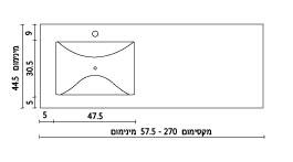 משטח עם כיור ENF-SV470 שרטוט