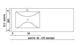 משטח עם כיור רחצה מלבני ENF-SV570 שרטוט