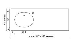 משטח עם כיור ENF-Shoshan שרטוט