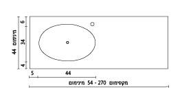 משטח עם כיור ENF-Vered שרטוט