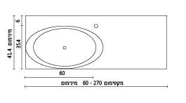 משטח עם כיור רחצה ENT-Climax שרטוט