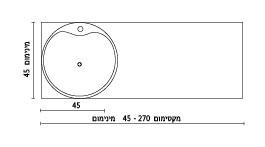 משטח עם כיור ENT-Feyon שרטוט