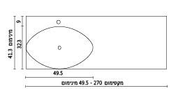 משטח עם כיור ENT-Garnet שרטוט