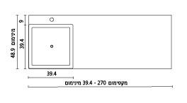 משטח עם כיור ENT-Shaked שרטוט