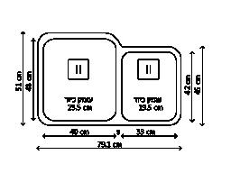 כיור נירוסטה כפול ESTO4033 שרטוט