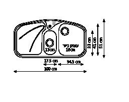 כיור נירוסטה כפול PAX654 שרטוט