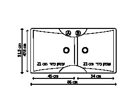 כיור סיליגרניט כפול ZOX 202 שרטוט