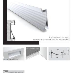 פרופיל שקוע לתאורת אווירה 00015 עם פס כיסוי אקרילי לתאורה אורך: 2/3 מטר