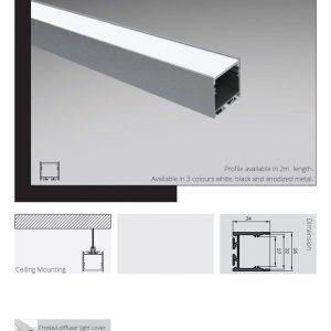 פרופיל תאורה תלוי וצמוד תקרה
